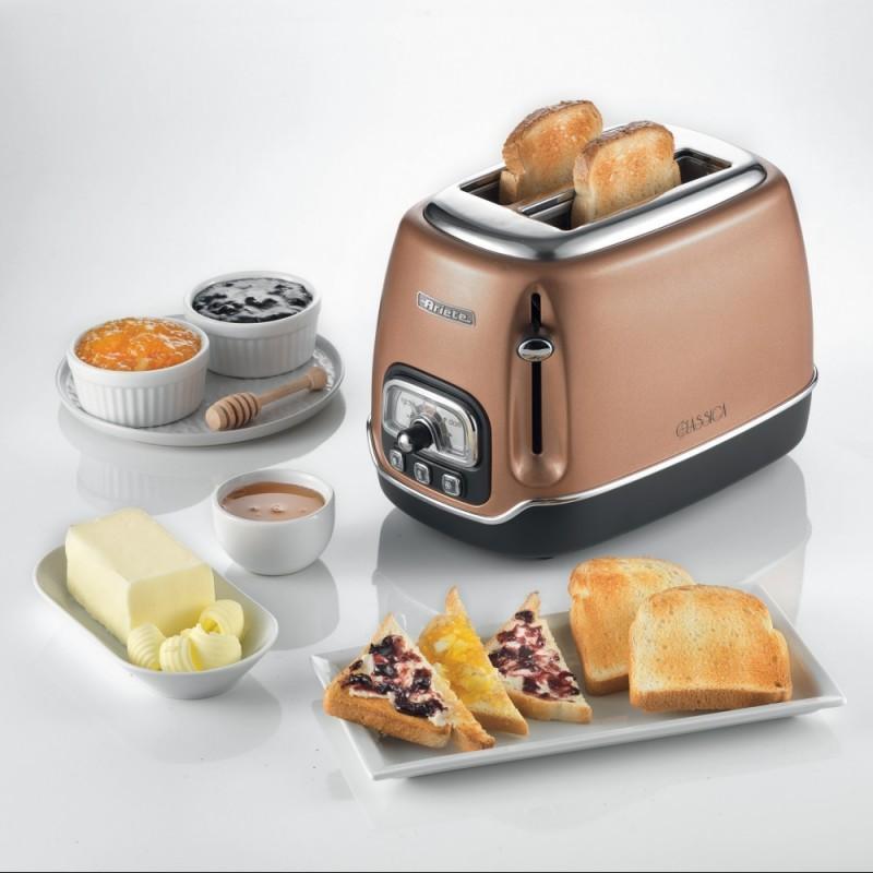 Prajitor de paine Ariete Classic, 0158  Cupru, 810 W, 2 Felii