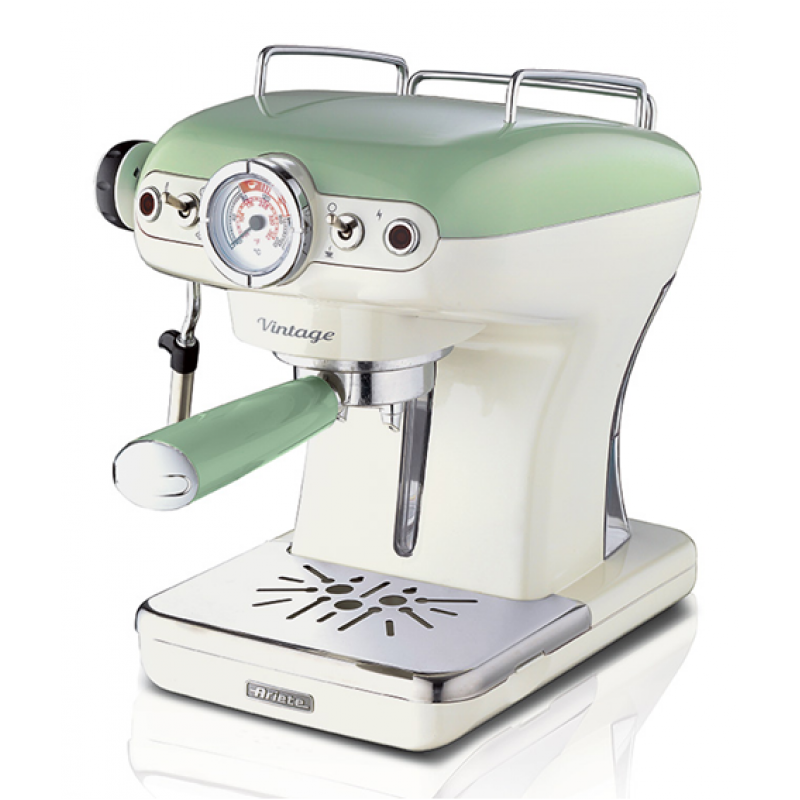 Espressor manual Ariete, 1389 Vintage, Verde, Sistem cappuccino, Putere 900W, 15 Bar